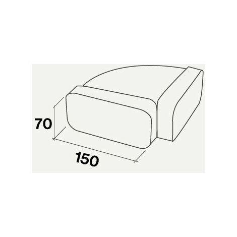 Falmec raccord horizontal pour gaine plate rectangulaire | ⌀ 150 / 220*90