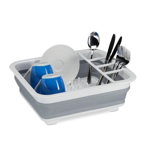 Falt Abtropfgestell, Geschirr & Besteck, Abtropfkorb Küche & Camping, faltbar, Silikon, Kunststoff, weiß-grau
