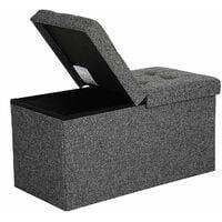 Faltbare Sitzbank 80 L Truhenbank Halbdeckel seitlich klappbar belastbar bis 300 kg 76 x 38 x 38 cm dunkelgrau LSF46GYZ