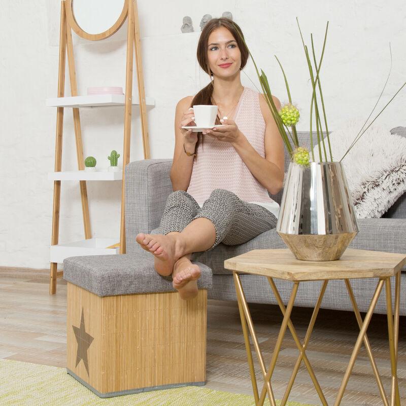 Faltbarer Sitzhocker,Sitzcube mit Deckel,36 x 36 cm,Stauraum grau natur Bambus
