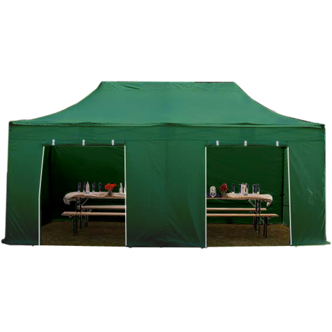 Faltpavillon 3x6m PES 350 g/m² dunkelgrün wasserdicht Faltzelt, Klappzelt