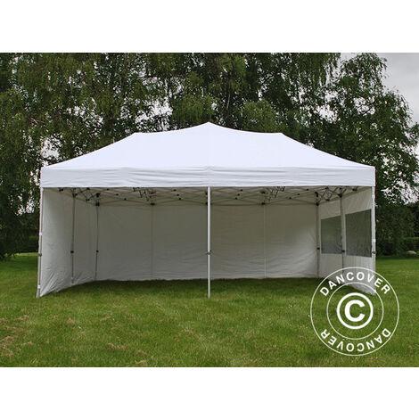 Faltzelt Faltpavillon Wasserdicht FleXtents PRO 6x6m Weiß, mit 8 Seitenwänden