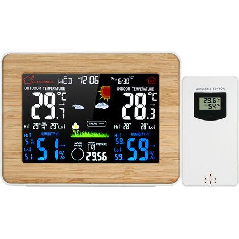 FanJu, estacion meteorologica inal¨¢mbrica, reloj despertador, termometro, higrometro
