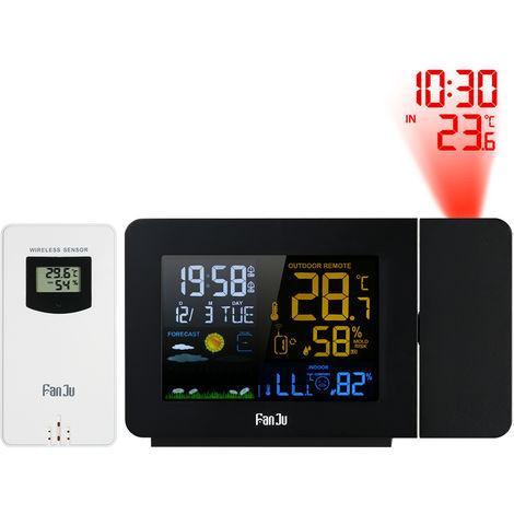 Fanju Usb Sans Fil Numerique Station Meteo Projection Reveil Thermometre Interieur / Exterieur Hygrometre Horloge Eu Plug
