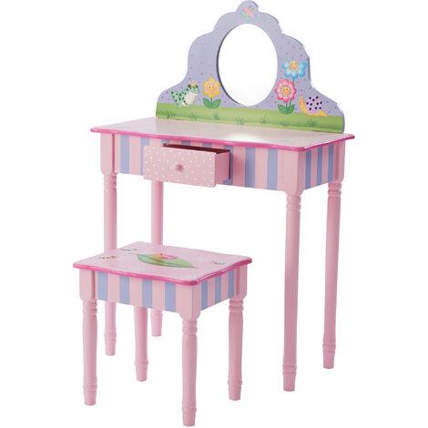 Fantaisie Champs - Magic Garden Jouer à Vanity Table et Tabouret Real Miroir   Meubles en bois Enfants TD-13245A