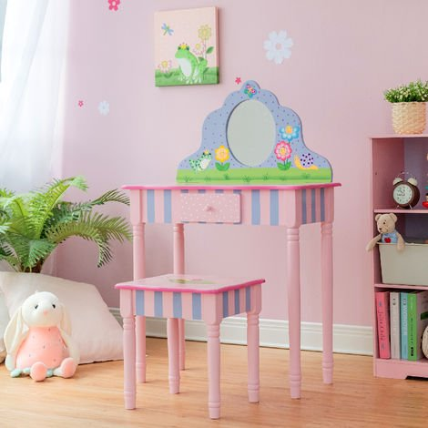 Fantasy Fields By Teamson Childrens Play Wooden Vanity Table, Stool Set & Mirror TD-13245A