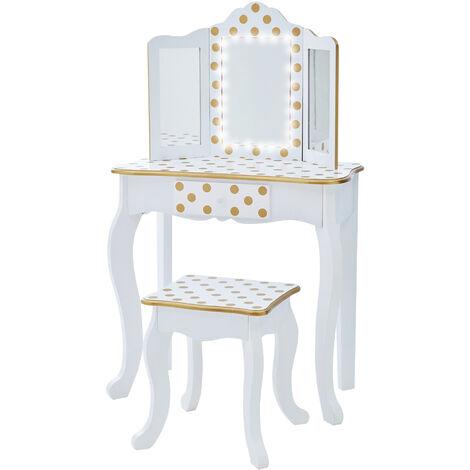 Fantasy Fields By Teamson Gisele Play Dressing Table/Vanity Set LED Light White/Gold TD-11670ML