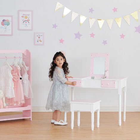 Fantasy Fields By Teamson Kids 'Kate' Play Dressing Table/Vanity with Storage Pink/White TD-13295A