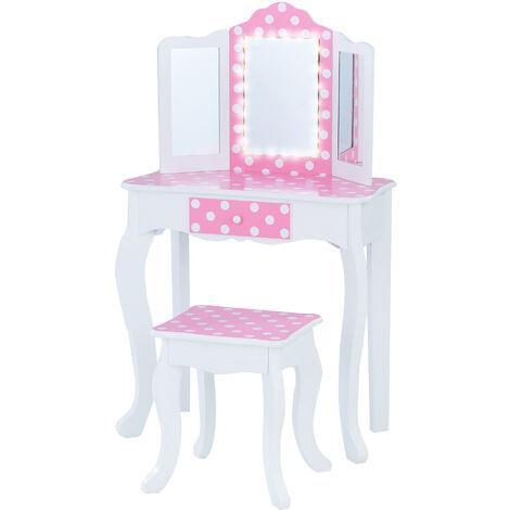 Fantasy Fields By Teamson Kids Pink Vanity Set With Mirror & Lights Wood Dressing Table TD-11670FL