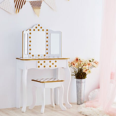 Fantasy Fields By Teamson Kids Vanity Set Wooden Dressing Table With Mirror & Stool Gold TD-11670M