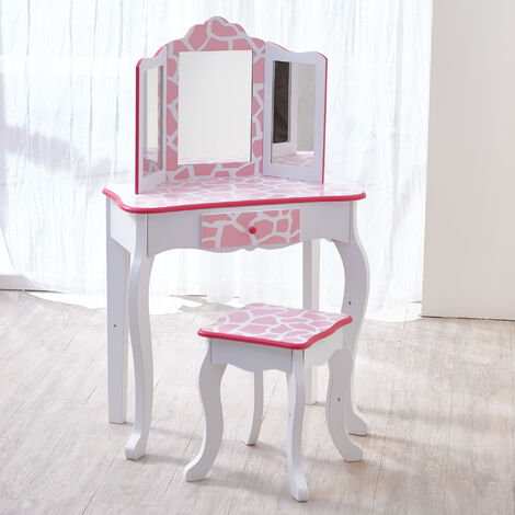 Fantasy Fields By Teamson Kids Vanity Set Wooden Dressing Table With Mirror & Stool Pink TD-11670D
