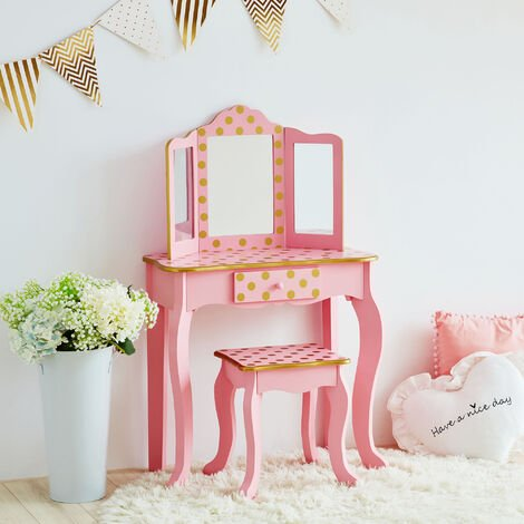 Fantasy Fields By Teamson Kids Vanity Set Wooden Dressing Table With Mirror & Stool Pink TD-11670L