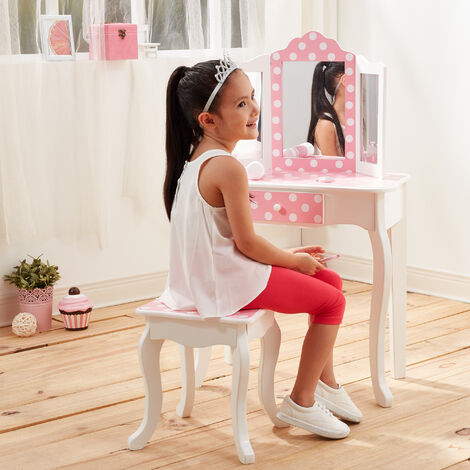 Fantasy Fields By Teamson Kids Vanity Set Wooden Polka Dot Dressing Table with Mirror & Stool Pink TD-11670F