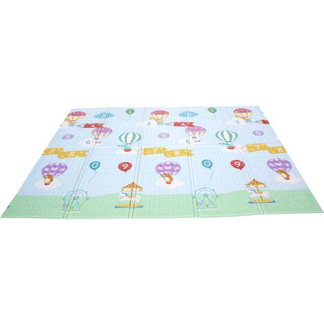 Fantasy Fields by Teamson, Large Waterproof Foam Crawling Baby Play Mat, Storage Bag, 2 sides, Hot Air Balloon Gym Floor Mat