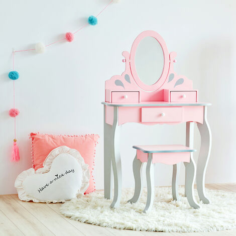 Fantasy Fields By Teamson Little Rapunzel Vanity Set Wooden Dressing Table With Mirror & Stool Pink TD-12851A