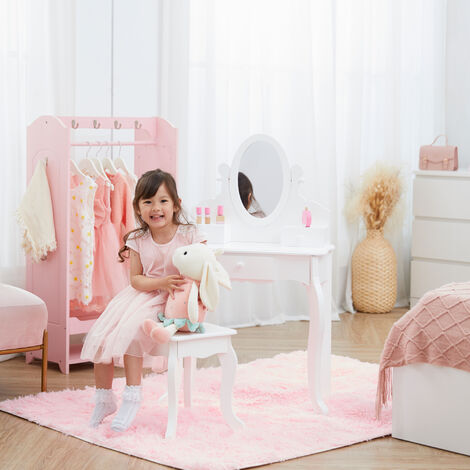 """main image of """"Fantasy Fields By Teamson Rapunzel Kids Dressing Table Vanity Set With Mirror, Drawers & Chair Stool For Children White TD-12851B"""""""