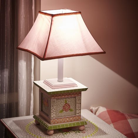 Fantasy Fields Childrens Crackled Rose Bedside Night Light Table Lamp W-5069GT