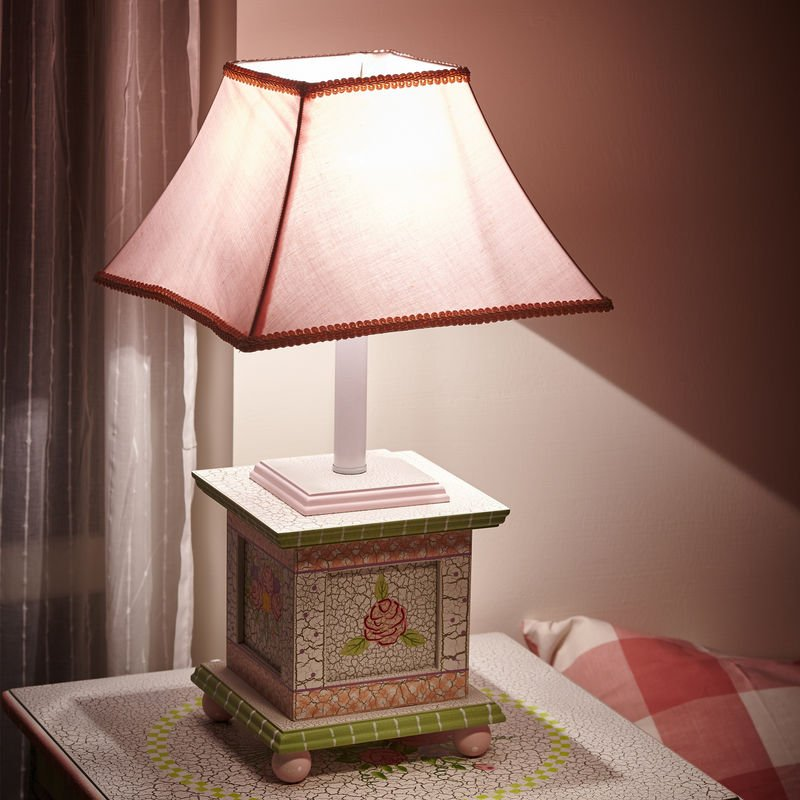 Image of Childrens Crackled Rose Bedside Night Light Table Lamp W-5069GT - Fantasy Fields