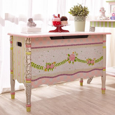 Fantasy Fields Childrens Crackled Rose Wooden Toy Box Chest Kids Storage W-6338G