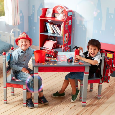 Fantasy Fields Childrens Firefighters Kids Wooden Table & Chair Set TD-12514ASET