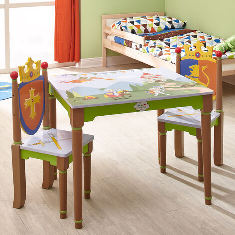 Fantasy Fields Childrens Knights Dragons Kids Wooden Table & Chairs Set TD-11837A