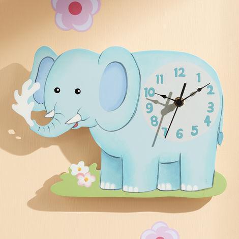 Fantasy Fields Childrens Sunny Safari Kids Wooden Elephant Wall Clock TD-12660A