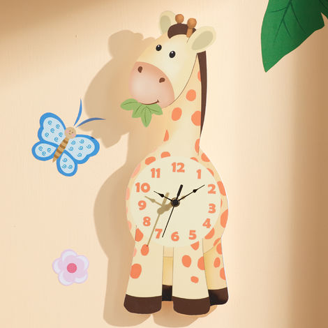 Fantasy Fields Childrens Sunny Sarfari Kids Wooden Giraffe Wall Clock TD-12656A