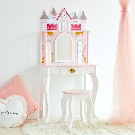 """main image of """"Fantasy Fields Kids Dreamland Castle Dressing Tables Vanity Table With Mirror and Stool TD-12951A"""""""