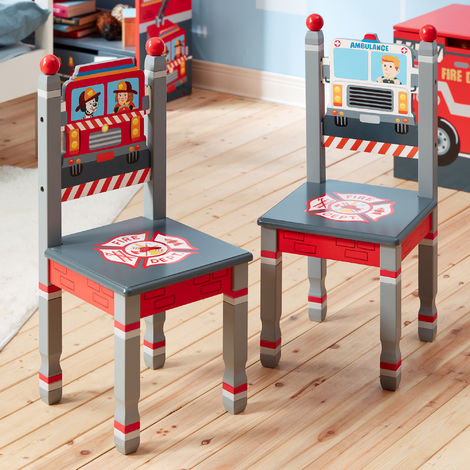 Fantasy Fields Lil Fire Fighters Childrens Kids Wooden 2 Chair Set TD-12514A2