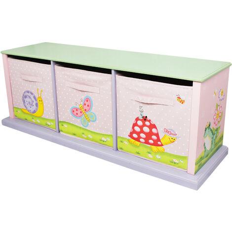Fantasy Fields Magic Garden Kids Wooden Storage Canvas Drawers Toy Box TD-0132A