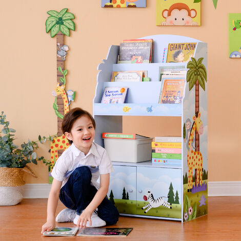 Fantasy Fields Sunny Safari Kids 3-Tier Wooden Bookcase & Storage Multi TD-13394SS
