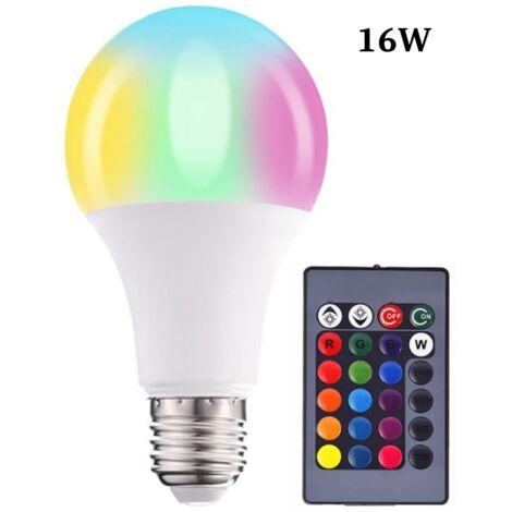 Farb-LED-Lampen, Dimmbare RGBW-LED-Lampen E27 Fernbedienungs-Umgebungslichter mit Speicher- und Timer-Funktion, 7 Helligkeitsstufen für Zuhause / Dekoration / Bar / Party (16 W)