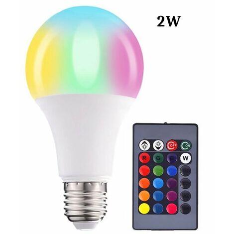 Farb-LED-Lampen, Dimmbare RGBW-LED-Lampen E27 Fernbedienungs-Umgebungslichter mit Speicher- und Timer-Funktion, 7 Helligkeitsstufen für Zuhause / Dekoration / Bar / Party (2 W)