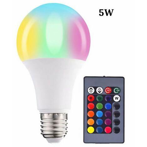 Farb-LED-Lampen, Dimmbare RGBW-LED-Lampen E27 Fernbedienungs-Umgebungslichter mit Speicher- und Timer-Funktion, 7 Helligkeitsstufen für Zuhause / Dekoration / Bar / Party (5W)