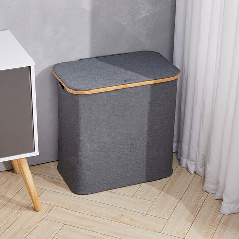 Farbic Laundry Basket with Lid Bucket Storage Box Carrier Organizer