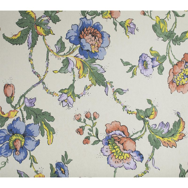 Image of Floral Trail Wallpaper Flowers Berries Cream Purple Yellow Red Paste Wall Fardis