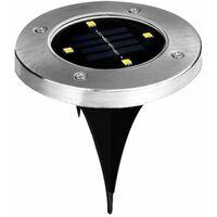 Faretto 4 led energia pannello solare giardino picchetto segnapassi esterno ip65