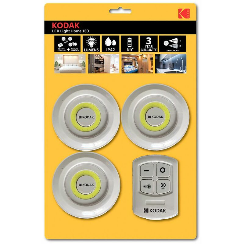 B&s - Faretto cob led KODAK armadio lampada emergenza luce adesivo telecomando 4pz