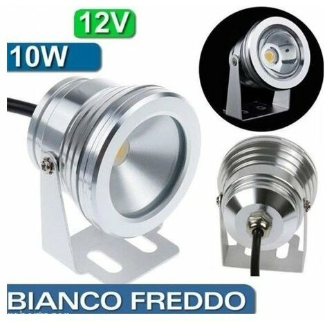 FARO FARETTO COB LAMPADA A LED BIANCO CALDO 10W 12V PER ESTERNO PISCINE FONTANE
