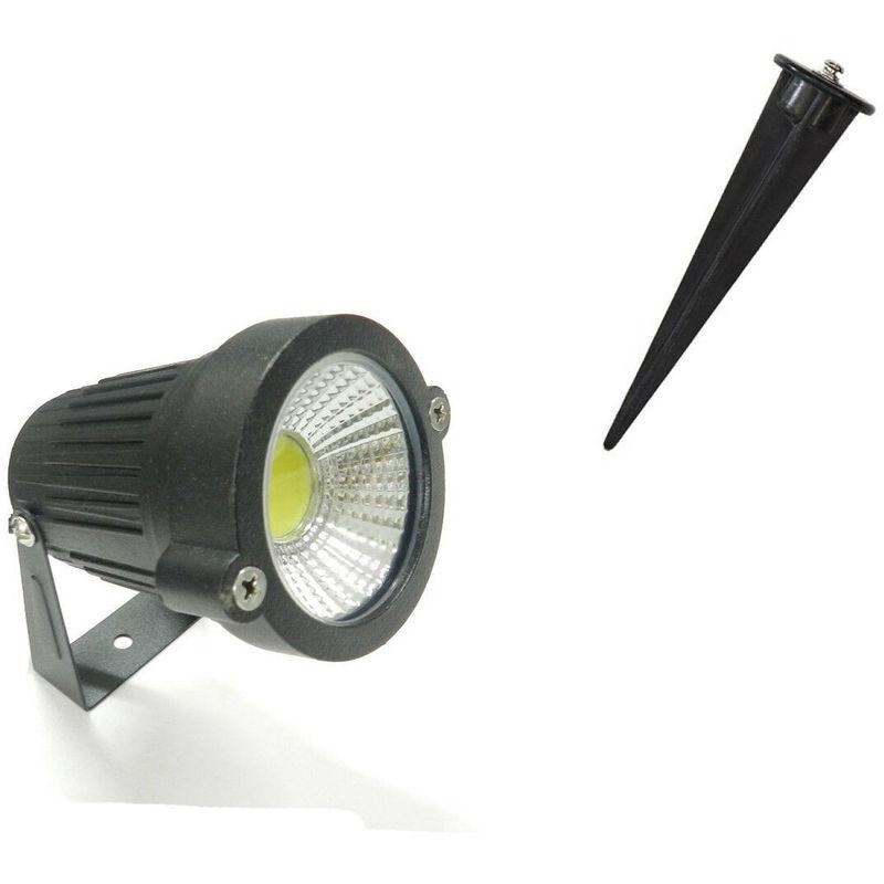 Faretto faro cob led da giardino 3w watt supporto picchetto luce bianca ip 65