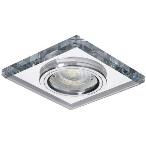"""main image of """"faretto incasso 1 luce 70 mm CE GX5,3 IP20 argento fisso quadrato vetro kan 18512"""""""