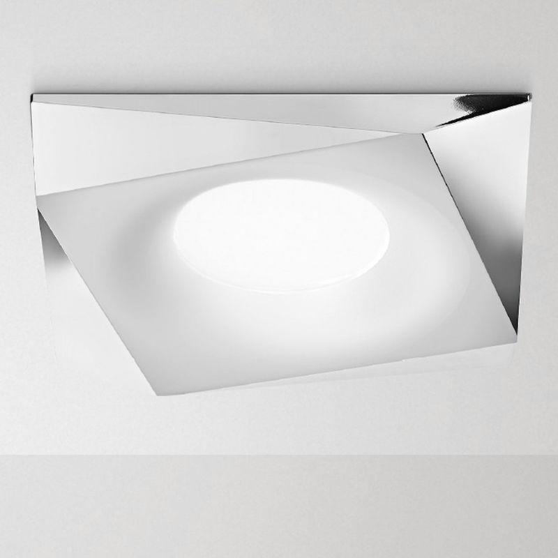 Faretto incasso alluminio gea led gfa162 gfa163 led spot incasso bianco opaco cromo interno gu10 ip20, finitura metallo cromo lucido