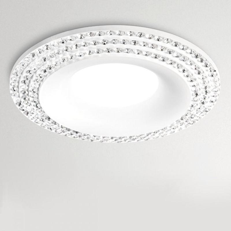 Faretto incasso alluminio gfa210 led spot strass bianco opaco tondo interno gu10 ip20 - Gea Led