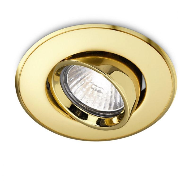 Faretto incasso ge-gfa003 led spot orientabile classico oro lucido tondo cartongesso controsoffitto interno gu10 - Gea Led