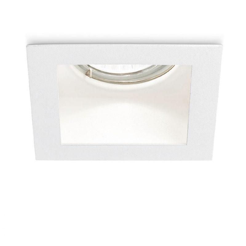 Faretto incasso metallo gfa490 led spot bianco opaco quadrato ottica fissa incavata cartongesso interno gu10 ip20 - Gea Led