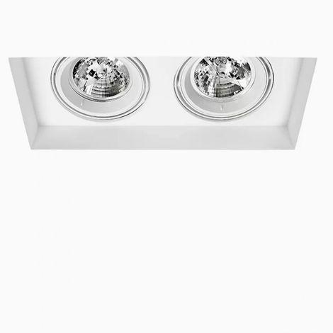 Faretti Led Incasso Gesso.Faretto Incasso Sf Attica Twin T13 9w Gu10 Led Gesso Bianco Verniciabile Spot Incasso Cartongesso Rettangolare Interno