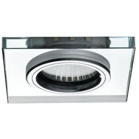 faretto incasso vetro con decoro led 220-240 volt 70 mm CE GU10 argento bianco freddo fisso interno quadrato vetro kan 24417
