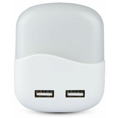 Faretto LED V-TAC Chip Samsung Segnapasso Notturno Quadrato 0,45W Sensore Crepuscolare e USB Colore Bianco 60*60*54,5 mm 3000K IP20