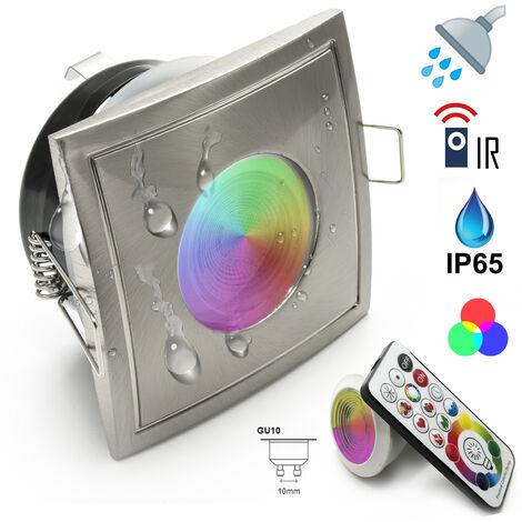 """main image of """"Faretto per cromoterapia quadrato IP65 led RGB+WHITE rgbw 6w gu10 230v box doccia"""""""