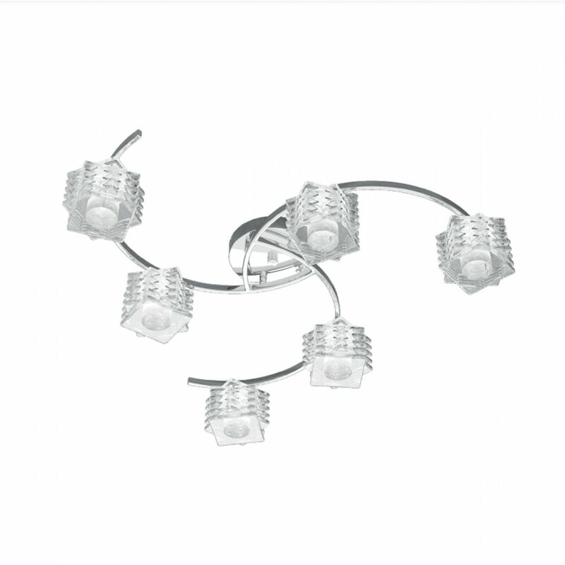 Top Light - Faretto tp-rubik 1126 pl6 g9 6 luci led lampada soffitto parete spot faretto orientabile vetro trasparente moderno tonda